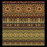 抽象传染媒介部族条纹背景集合 库存图片