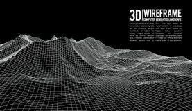 抽象传染媒介wireframe风景背景 网际空间栅格 3d技术wireframe传染媒介例证 数字式 免版税库存图片