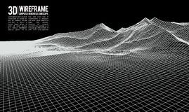 抽象传染媒介wireframe风景背景 网际空间栅格 3d技术wireframe传染媒介例证 数字式 免版税图库摄影
