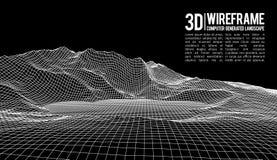 抽象传染媒介wireframe风景背景 网际空间栅格 3d技术wireframe传染媒介例证 数字式 免版税库存照片