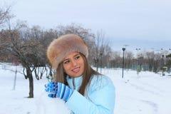 抽象例证时髦的冬天妇女 免版税库存照片