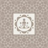 抽象信奉瑜伽者瑜伽演播室设计卡片 库存照片