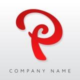 抽象信件P商标模板 免版税库存照片