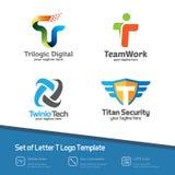 抽象信件T商标集合 简单,五颜六色和现代设计v 图库摄影