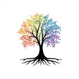 抽象充满活力的树商标设计,根传染媒介-生物演化谱系图解商标设计启发 皇族释放例证