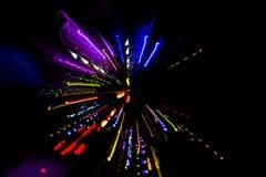 抽象光线影响在晚上,光五颜六色的条纹  库存照片