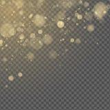 抽象光线影响 在透明背景隔绝的黄色bokeh 灿烂光辉 金黄闪烁 任意模糊的斑点 ?? 库存例证