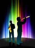 抽象光谱背景的活音乐家 免版税库存图片