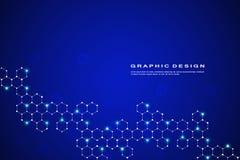 抽象六角分子背景,基因和化合物系统 几何图表和被连接的线 免版税库存照片