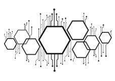 抽象六角形和技术线背景 向量例证