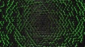抽象六角形有霓虹几何背景 股票录像
