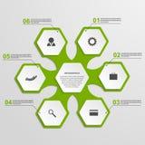 抽象六角形infographics模板 背景设计要素空白四的雪花 库存图片
