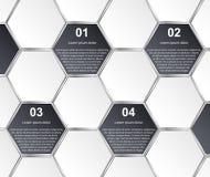 抽象六角形infographics模板 背景设计要素空白四的雪花 免版税库存图片