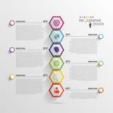 抽象六角形infographics 时间安排模板 向量 图库摄影