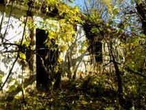 抽象农村被忘记的被毁坏的房子墙纸背景 免版税库存图片