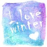 抽象冬天传染媒介手拉的水彩背景 图库摄影
