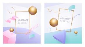 抽象几何图框架3d横幅集合 数字图表球形塑造给的营销海报做广告背景 库存例证