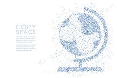 抽象几何圈子光点图形地球形状,世界旅行企业技术构思设计蓝色彩色插图 库存照片
