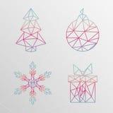抽象几何圣诞树,雪花,礼物盒, christma 免版税库存照片