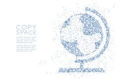 抽象几何多角形方形框和三角仿造地球形状,世界旅行企业技术构思设计蓝色颜色 免版税库存照片