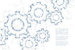 抽象几何多角形方形框和三角仿造工程学齿轮形状,配合系统概念设计蓝色颜色illus 皇族释放例证