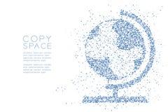 抽象几何方形框样式地球形状,世界旅行企业技术构思设计蓝色彩色插图 库存照片