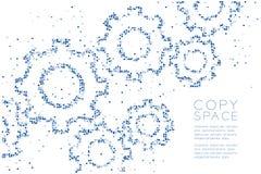 抽象几何方形框样式工程学齿轮形状,配合系统概念设计蓝色彩色插图 皇族释放例证