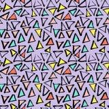 抽象几何无缝的手拉的样式 现代无权纹理 五颜六色的几何乱画背景 库存照片