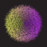 抽象几何明亮的黄色和紫色梯度上色了与段末短行的传染媒介背景 免版税库存图片