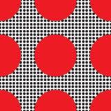 抽象几何模式 背景无缝的向日葵 黑,红色和白色纹理 免版税库存图片
