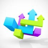 抽象几何箭头3D 图库摄影