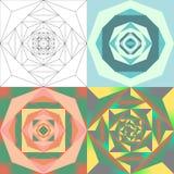 抽象几何花集合 免版税库存照片