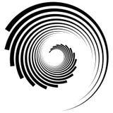 抽象几何螺旋,与通报的波纹元素, concent 皇族释放例证