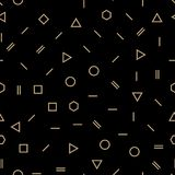 抽象几何金和黑色孟菲斯时尚设计样式 库存例证