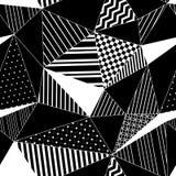 抽象几何镶边在黑白的三角无缝的样式,传染媒介 免版税库存照片