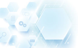 抽象几何,线,六角技术数字式高科技 免版税库存照片