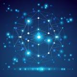 抽象几何3D滤网对象,现代数字式 免版税图库摄影