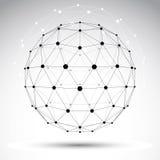 抽象几何3D wireframe对象,传染媒介 免版税库存照片