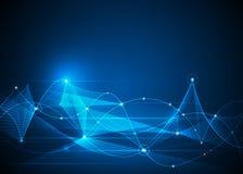 抽象分子和滤网线 未来派,通讯技术概念 库存例证