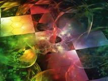 抽象分数维意想不到的计算机,透明魔术,超现实创造性动态 向量例证