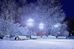 抽象分数维图象晚上冬天 冬天风景冬天在有用雪盖的长凳的夜多雪的公园 库存图片