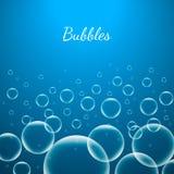 抽象创造性的在蓝色背景网和流动应用的概念传染媒介发光的透明泡影隔绝的 免版税库存照片