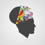 抽象创造性的开放头 天才头脑 向量 皇族释放例证