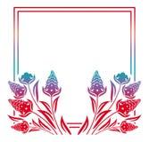 抽象剪影花卉框架 免版税库存图片