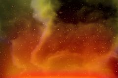 抽象动态幻想黄色空间和星五颜六色的背景与火花和云彩 免版税图库摄影