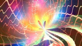 抽象动画:在一个螺旋的一次桃红色栅格飞行在空间轮到彩虹植物里 皇族释放例证