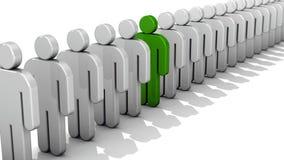 抽象区别和个性、独特和领导企业概念,唯一绿色3D人民在白色f行计算  库存例证