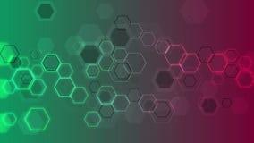抽象发光的技术几何六角形录影动画 库存例证