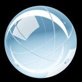 抽象发光的球形玻璃回报- 3D例证 库存图片