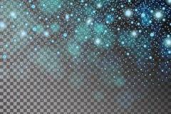 抽象发光的蓝色sparcles和火光影响在透明背景隔绝的样式 库存图片